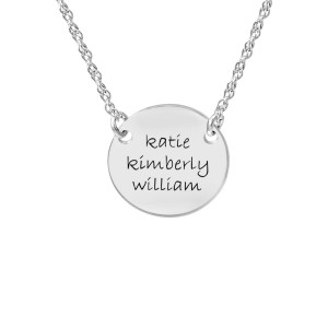 White tiny POSH Engravable Family Circle Necklace Personalized Jewelry