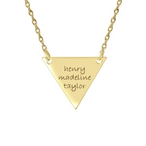 Yellow tiny POSH Engravable Family Triangle Necklace Personalized Jewelry