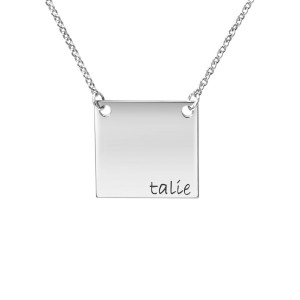 White tiny POSH Engravable Square Necklace Personalized Jewelry