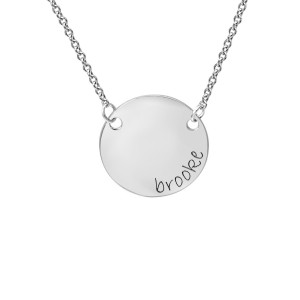 White tiny POSH Engravable Circle Necklace Personalized Jewelry