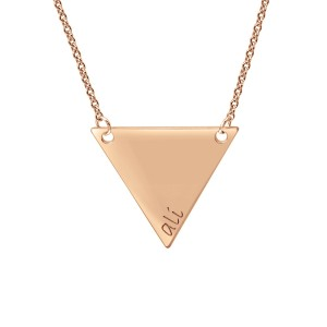 Rose tiny POSH Engravable Triangle Necklace Personalized Jewelry