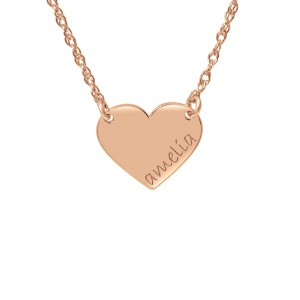 Rose tiny POSH Engravable Heart Necklace Personalized Jewelry
