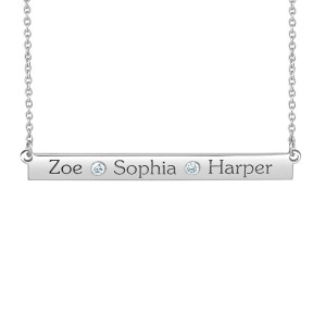 White Diamond Zoe Bar Personalized Jewelry