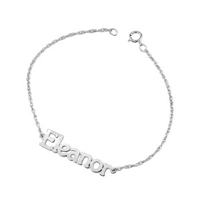 White Tanner Nameplate Bracelet