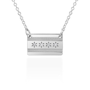 Diamond Chicago Flag Necklace