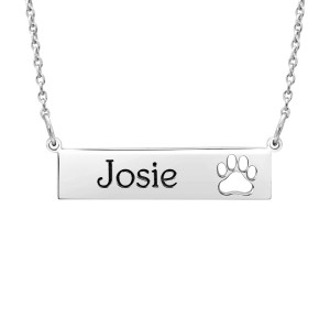 Silver POSH Paw Bar Necklace