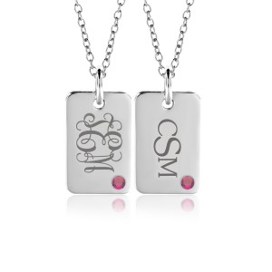 Birthstone Monogram Mini Dog Tag