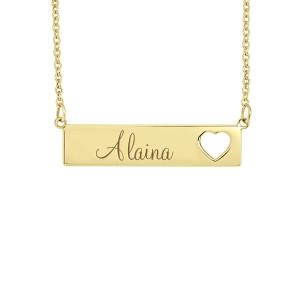 Small Yellow POSH Alaina Bar Name Necklace