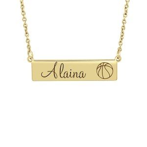 Small Yellow Gold Basketball Sports Necklace