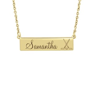 Small Yellow Gold Hockey Bar Necklace