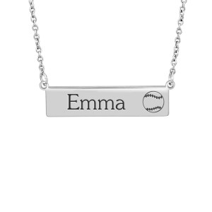 Small Silver Softball Bar Necklace