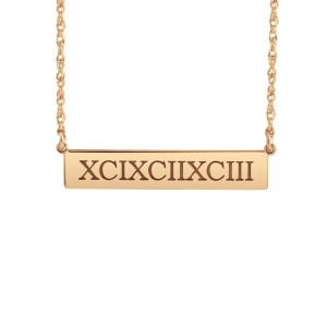 Rose Roman Numeral POSH Bar Necklace