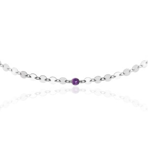 Sterling Silver Disc + Birthstone Choker