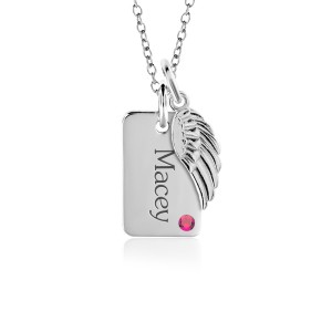 Birthstone Mini Dog Tag + Wing Charm