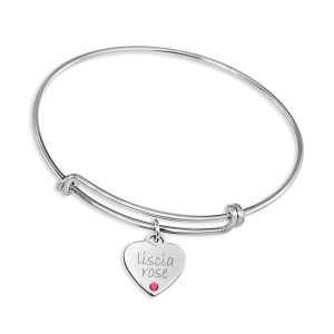 Silver Expandable Bracelet with Birthstone Sweetheart