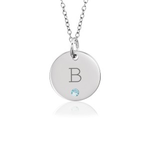 Block Initial Birthstone Disc Mommy Necklace Personalized Jewelry