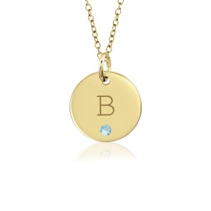 Block Vermeil Initial Birthstone Disc Necklace Personalized Jewelry