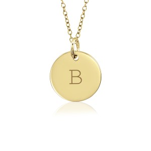 Block Vermeil Initial Disc Mommy Necklace Personalized Jewelry