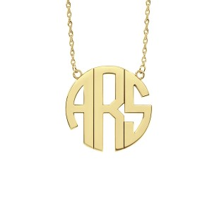 Yellow POSH Block Monogram Necklace