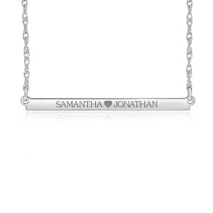 White Brooklyn Bar Necklace Personalized Jewelry