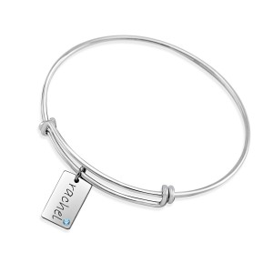 Expandable Bracelet with Mini Dog Tag Charm