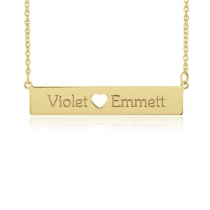 Yellow  Cut Out POSH Bar Necklace Personalized Jewelry