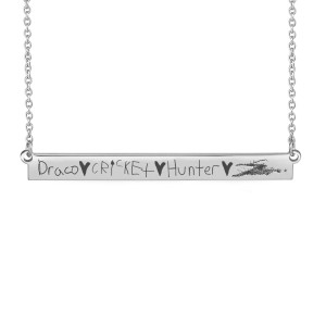 Handwriting Hilaria Bar Necklace