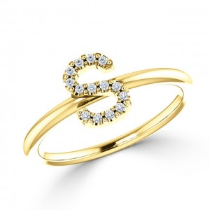 Stackable Diamond Initial Ring