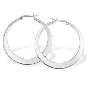 Sterling Silver Large Crescent Hoop Earrings