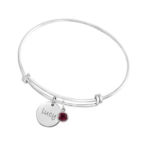 Expandable Bracelet with Birthstone Charm + Disc