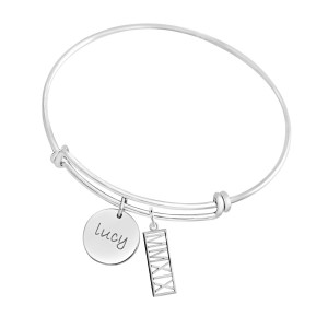 Expandable Bracelet with Disc + Year Charm