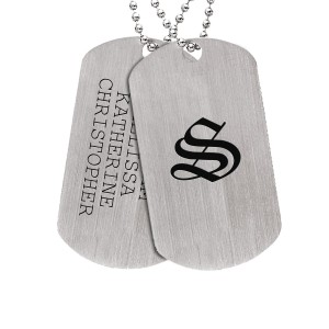 Silver Daddy Dog Tag & Family Crest Necklace Men's Personalized Jewelry