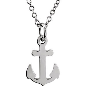White tiny POSH Anchor Necklace