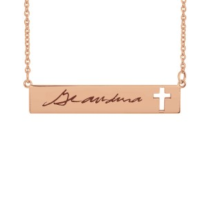 Handwriting Cross Bar Necklace
