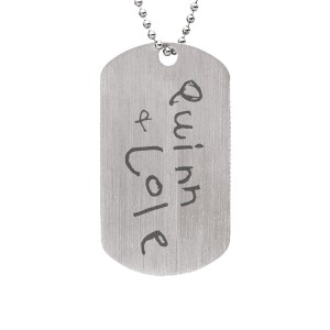 White Handwriting Daddy Dog Tag Personalized Jewelry
