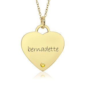 Vermeil Birthstone Eternal Heart Mommy Necklace
