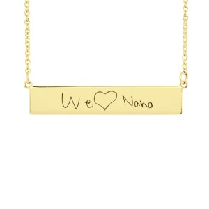 Yellow Handwriting POSH Bar Necklace