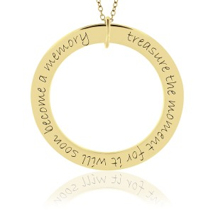 Yellow Gold Mantra Forever Loop Pendant Personalized Jewelry