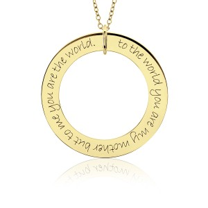 Yellow Gold Mantra POSH Loop Pendant Personalized Jewelry