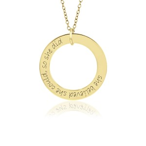 Yellow Gold Mantra WEE Loop Pendant Personalized Jewelry