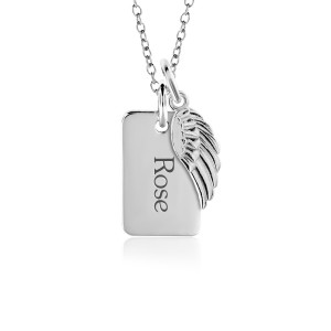 Mini Dog Tag + Wing Charm