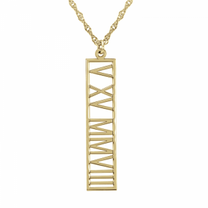 Date Tag Necklace Roman Numeral Jewelry