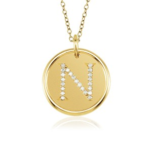 ROXY Diamond Vermeil Initial Necklace