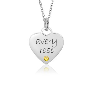 White Gold Sweetheart Birthstone Mommy Necklace Personalized Jewelry