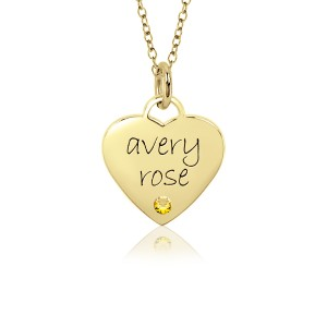 Sweetheart Birthstone Vermeil Mommy Necklace Personalized Jewelry