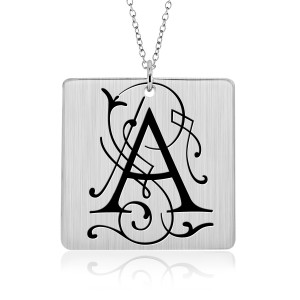 Silver Vintage Initial Square Mommy Necklace Blackened Letter